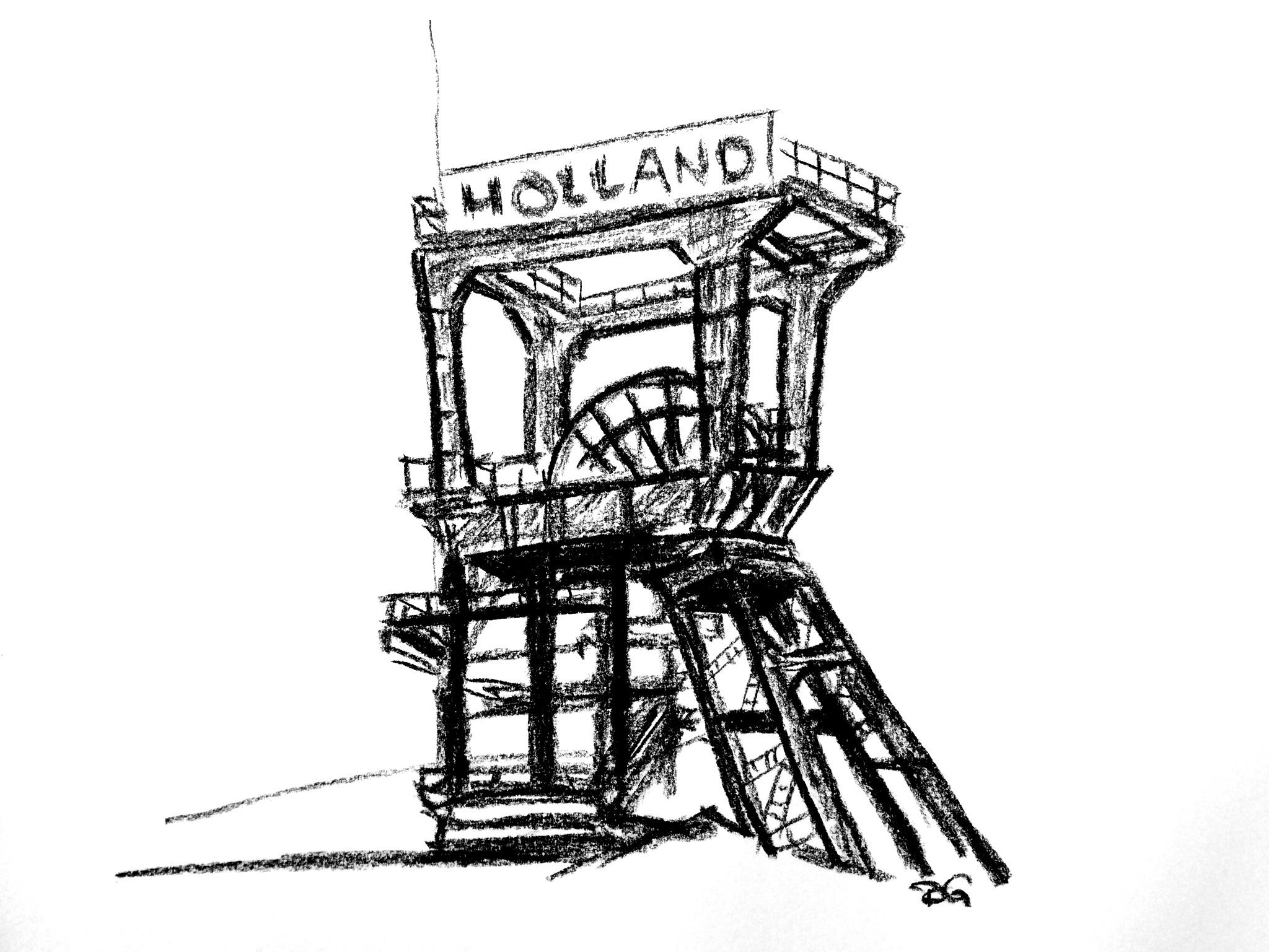 Zeche Holland, Bochum. Zeichenkohle auf Papier.