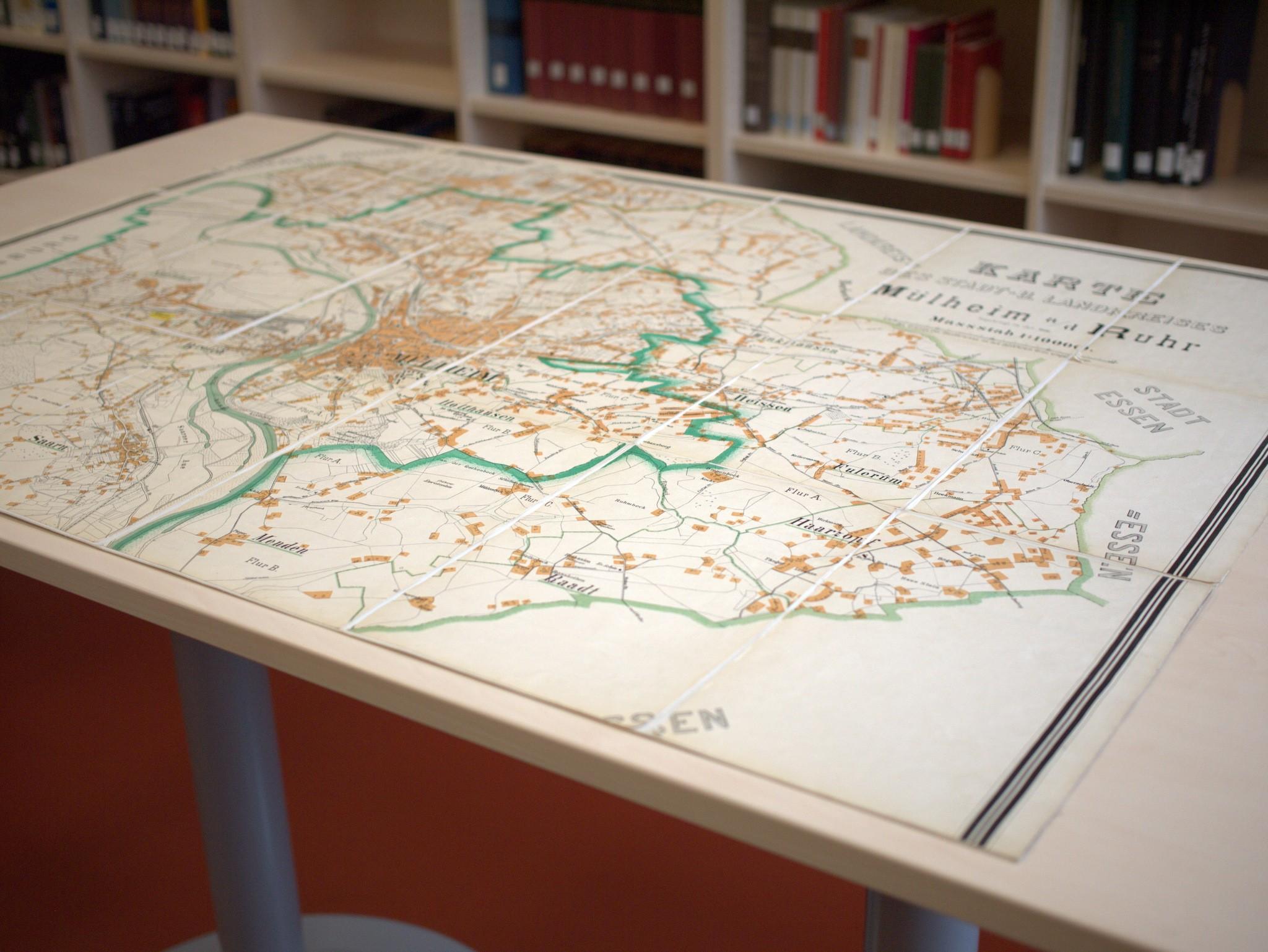 Historische Karte von Mülheim an der Ruhr