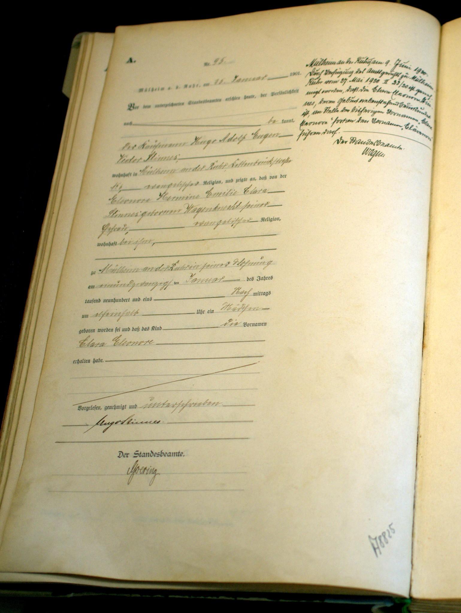 Geburtsurkunde von Clara Eleonore Stinnes, genannt Clärenore.