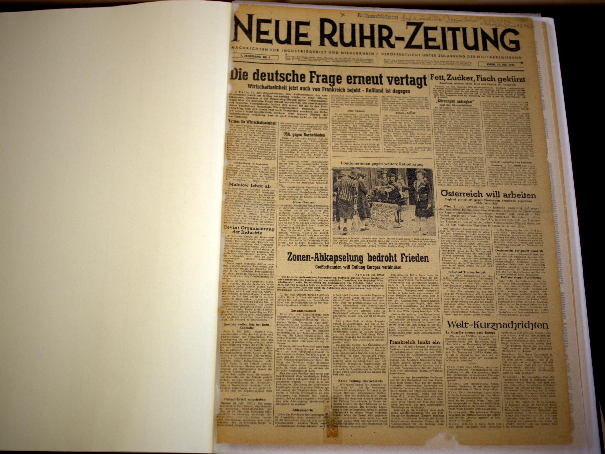 Die NRZ aus dem Juli 1946.