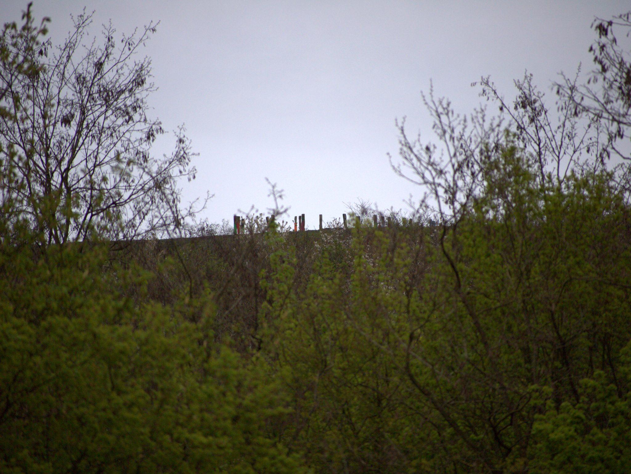 Blick zum Gipfel mit den Totems. Da hoch wollen wir.