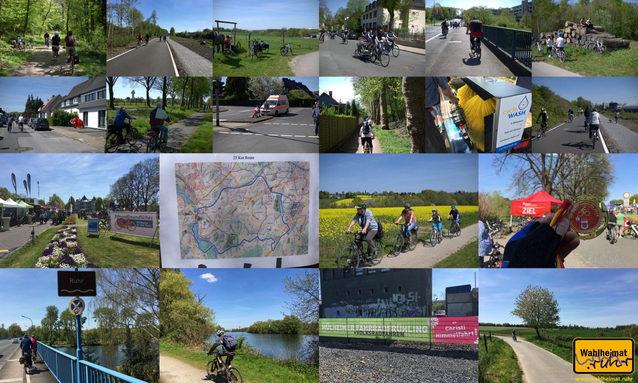 Collage der 25km-Tour über Mülheimer und Essener Stadtgebiet.