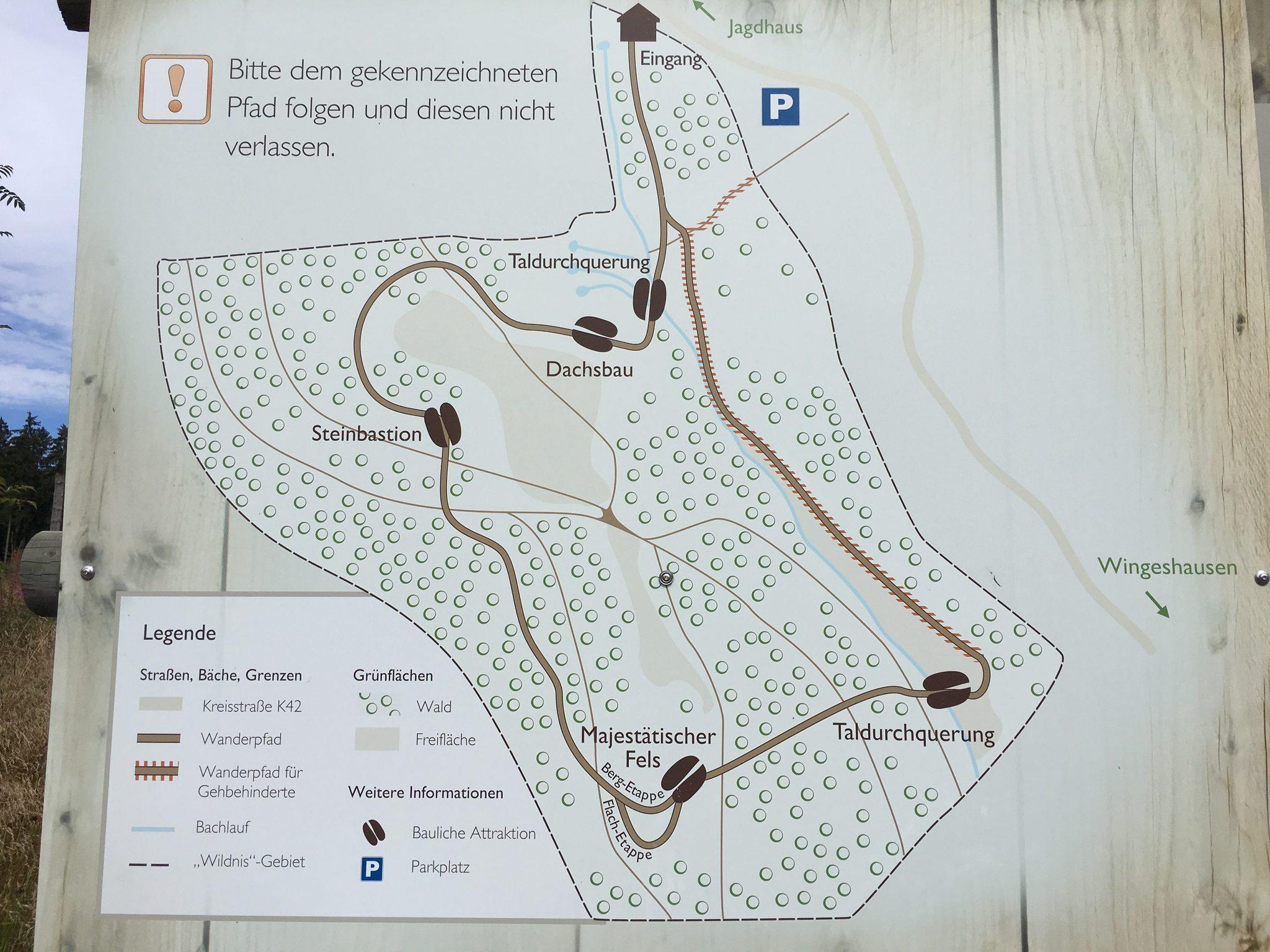 Übersichtskarte über den Rundwanderweg.