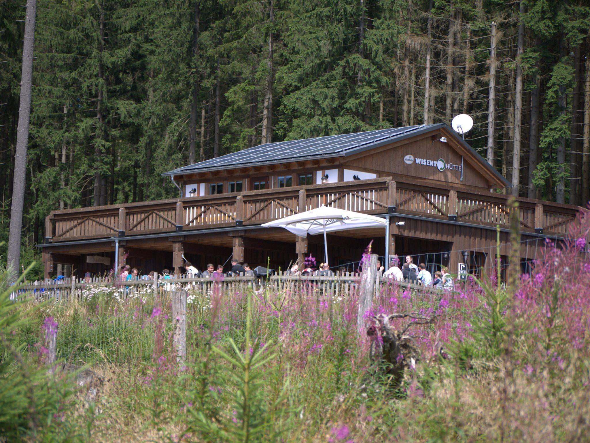 Die Wisent-Hütte. Hier gibt's neben Eintrittskarten, Souvenirs und WC auch ein Restaurant mit Terrasse.