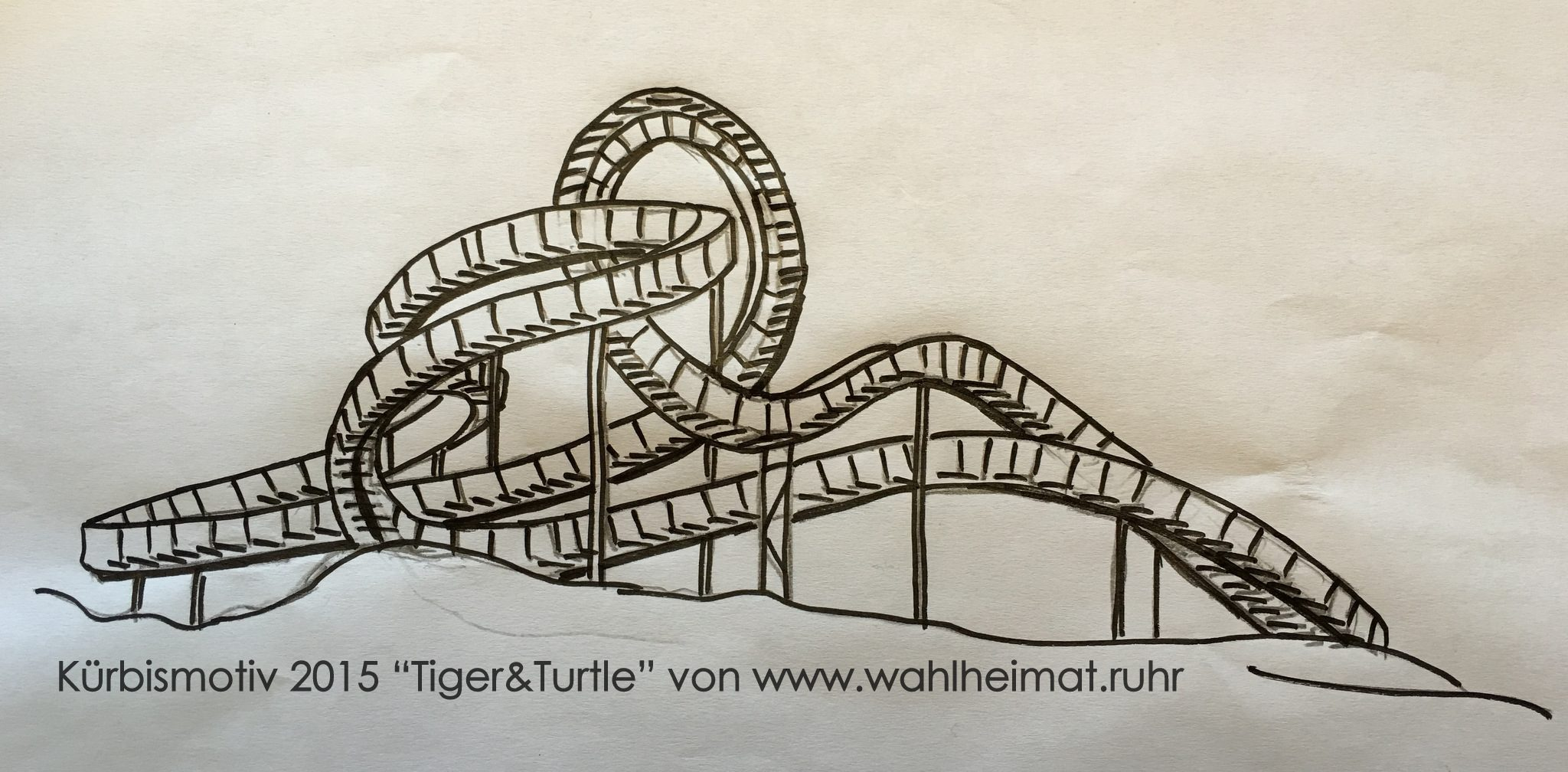 """Die selbstgemachte Kürbismotiv-Vorlage für """"Tiger&Turtle""""."""
