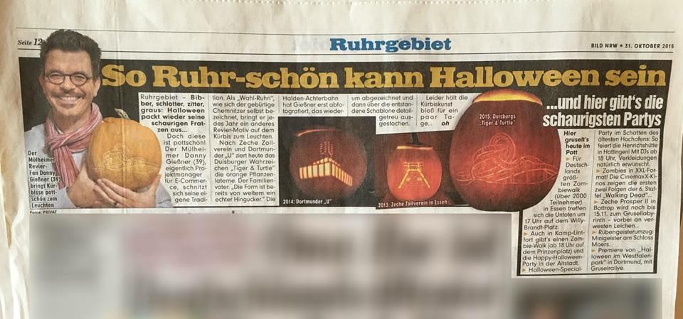 Schaurig-schöner Artikel in der BILD Ruhrgebiet vom 31.10.2015 (mit freundlicher Genehmigung der Redaktion)