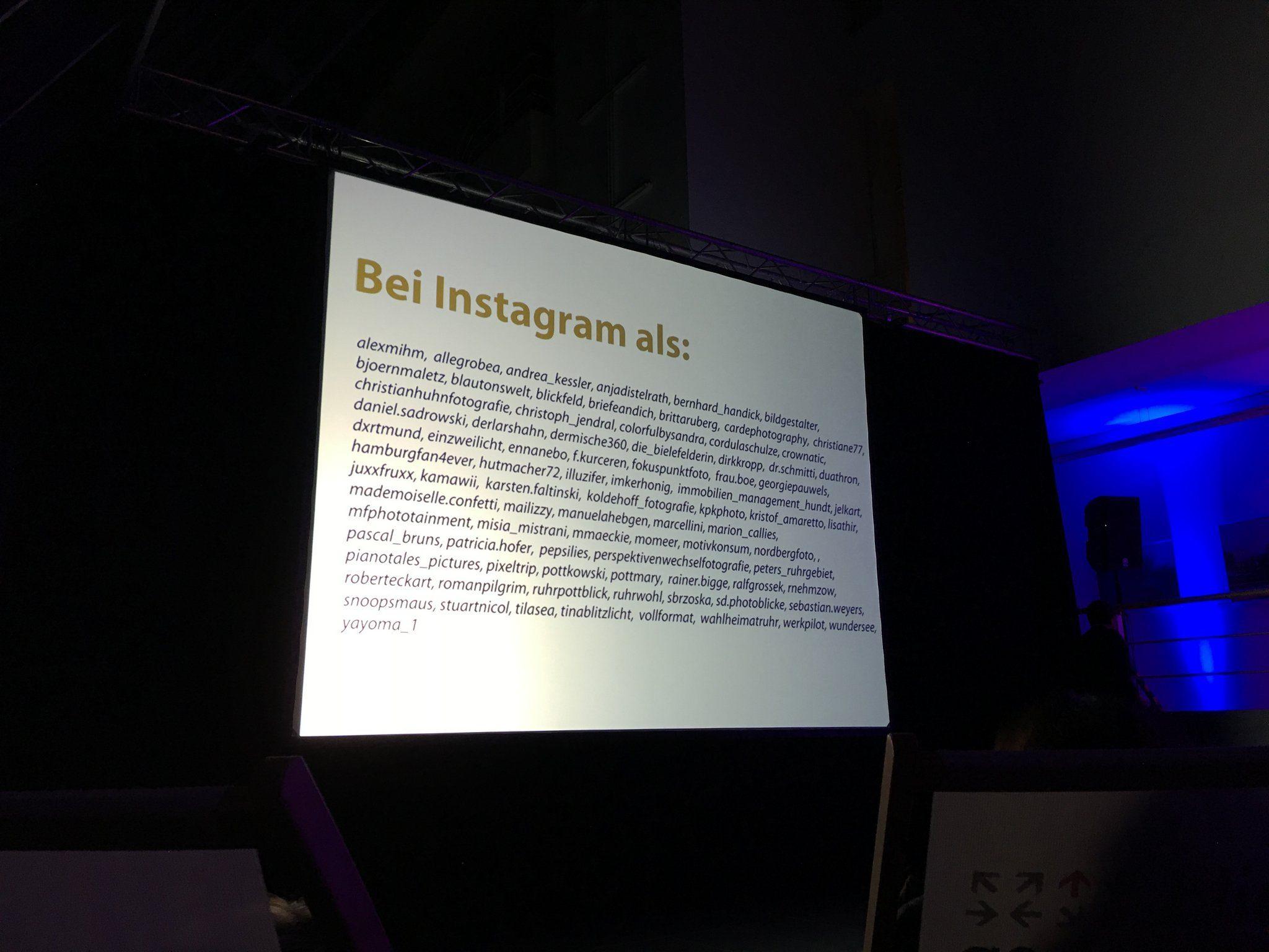 ...und das hier sind ihre Instagram-Namen.