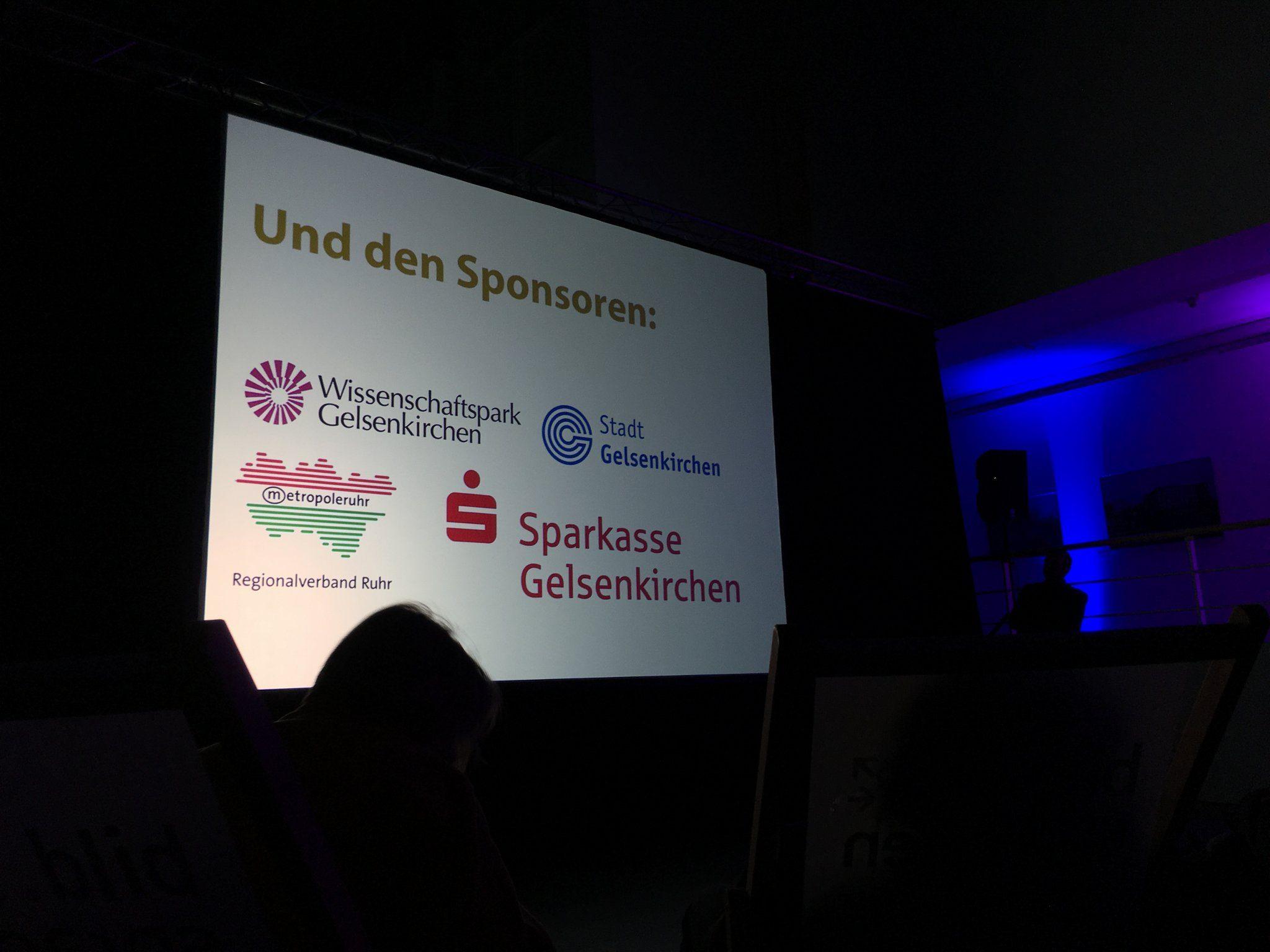 Danke an die Sponsoren: Wissenschaftspark Gelsenkirchen, Stadt Gelsenkirchen, Regionalverband Ruhr, Sparkasse Gelsenkirchen.