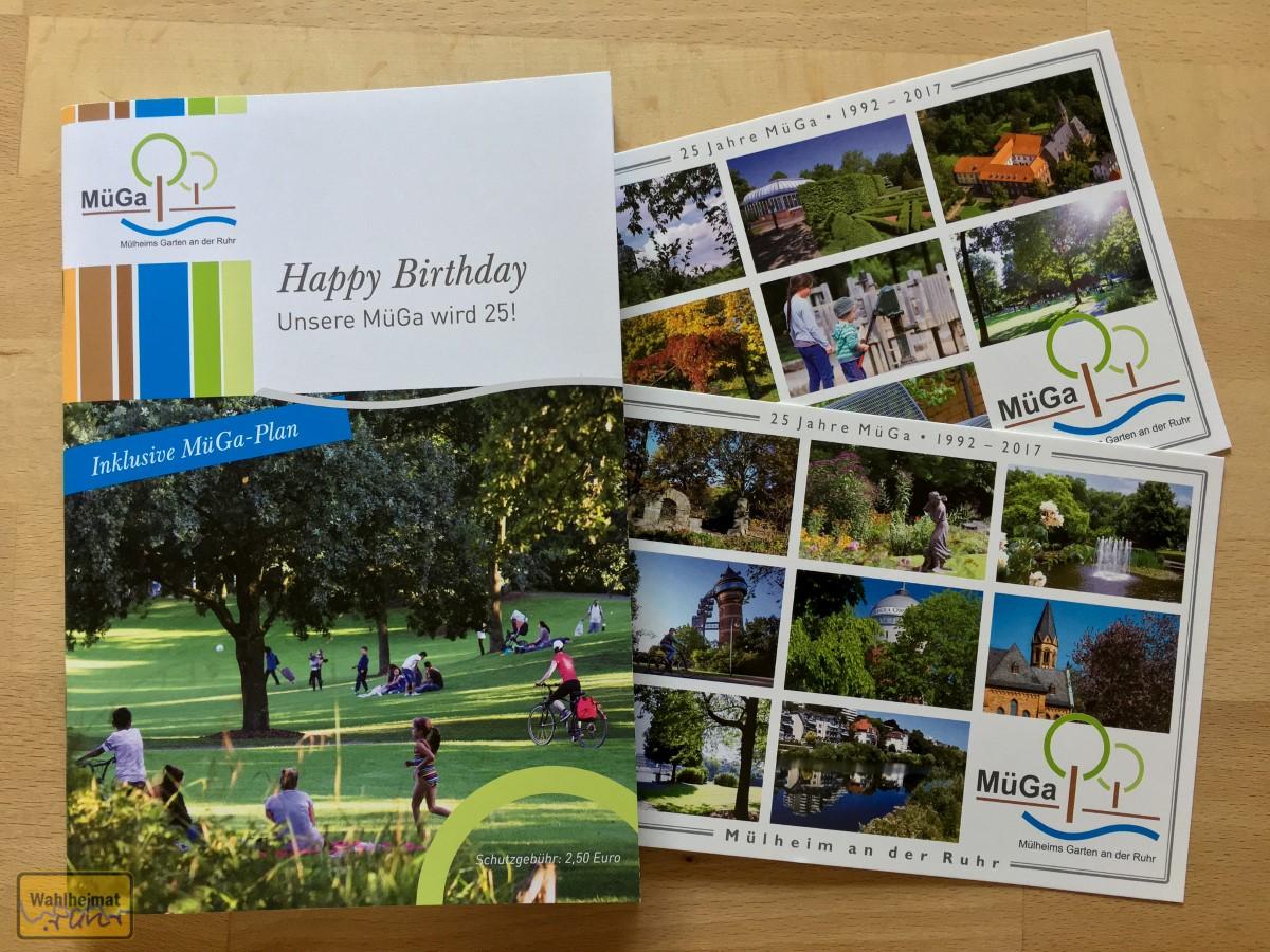 Broschüre und Postkarten zu 25 Jahre MüGa