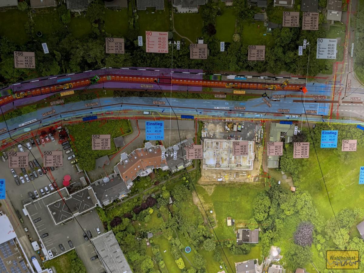 Ausschnitt aus der Übersichtskarte. Am roten Pinnöppel steht der grüne Baucontainer, in dem ich die Karte fotografierte.