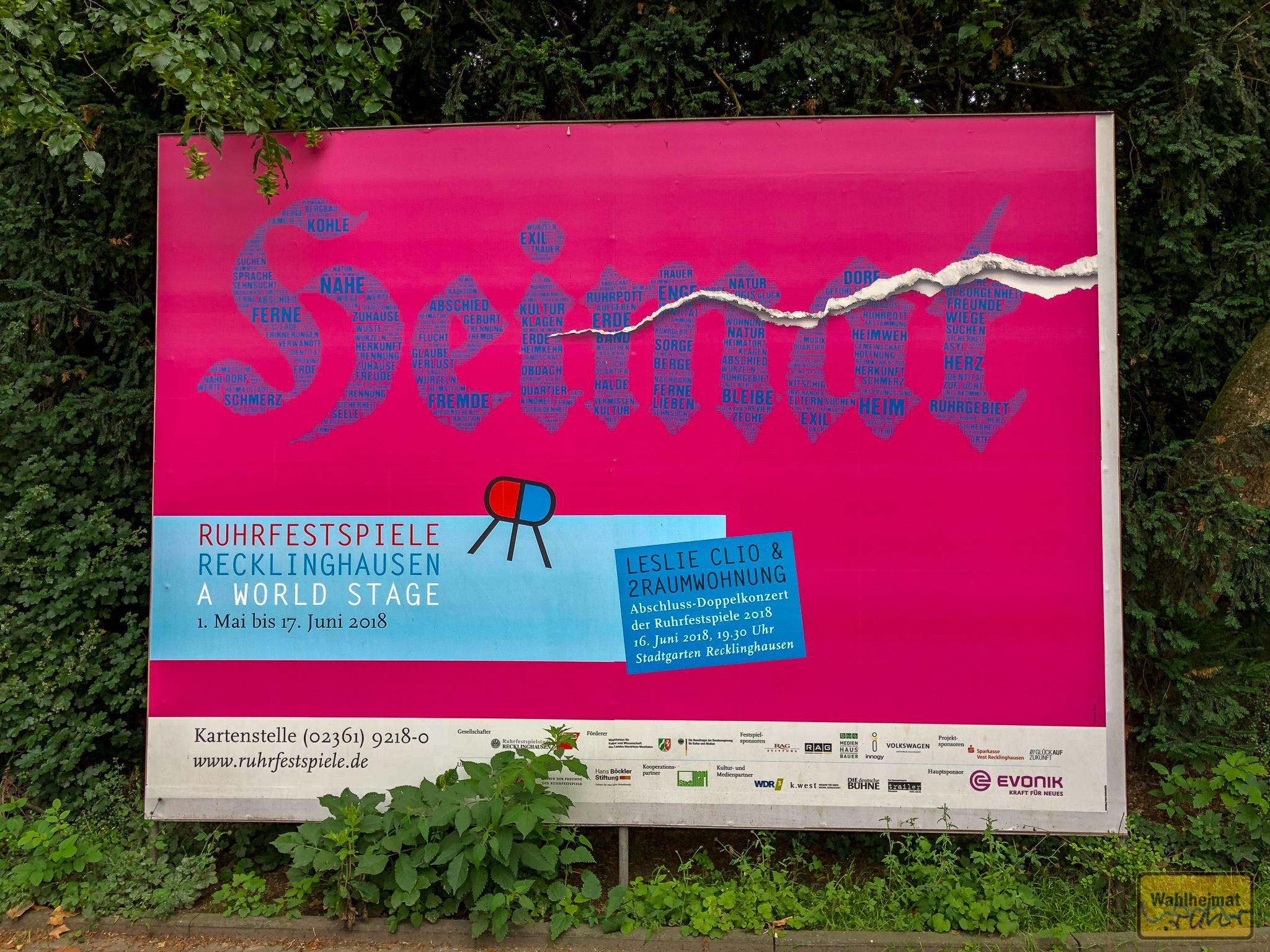 Heimat. Das ist das Motto der Ruhrfestspiele 2018, die seit 72 Jahren in Recklinghausen beheimatet sind.