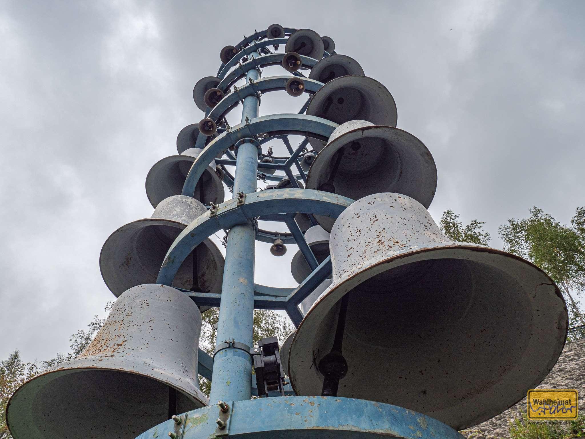 Der Bochumer Glockenturm. Er erinnert daran, dass aus Bochum gut 38.000 Stahlguß-Glocken in alle Welt gingen, unter anderem auch in die Weltfriedenskirche nach Hiroshima.
